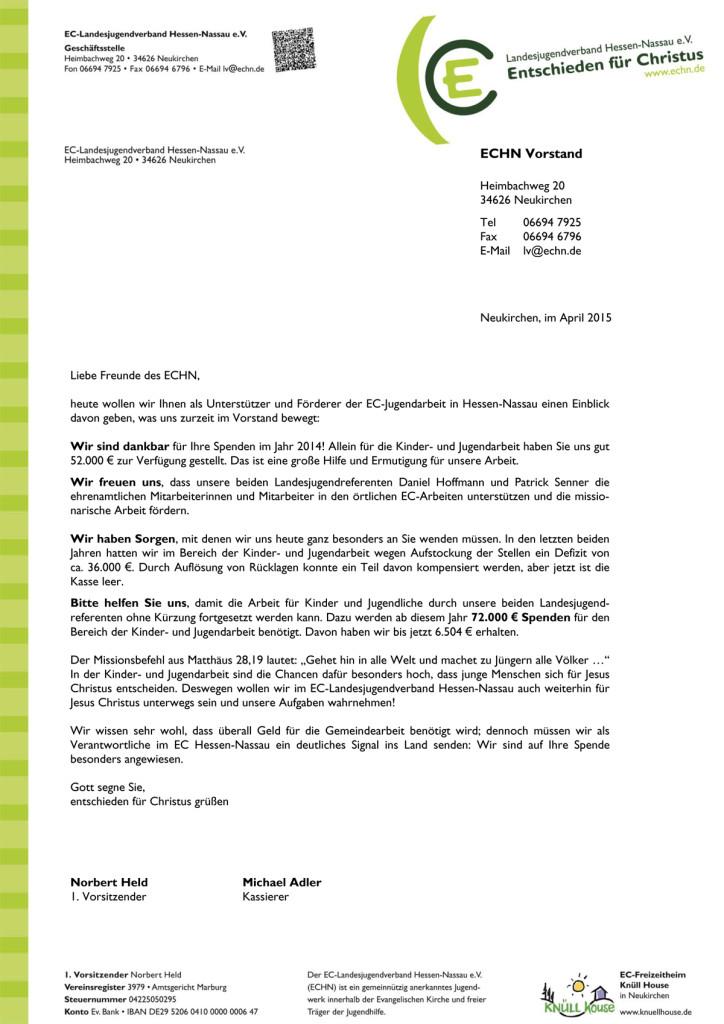 Spendenbrief April 2015